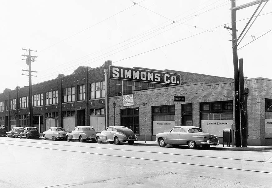 Historic photo of original Simmons plant