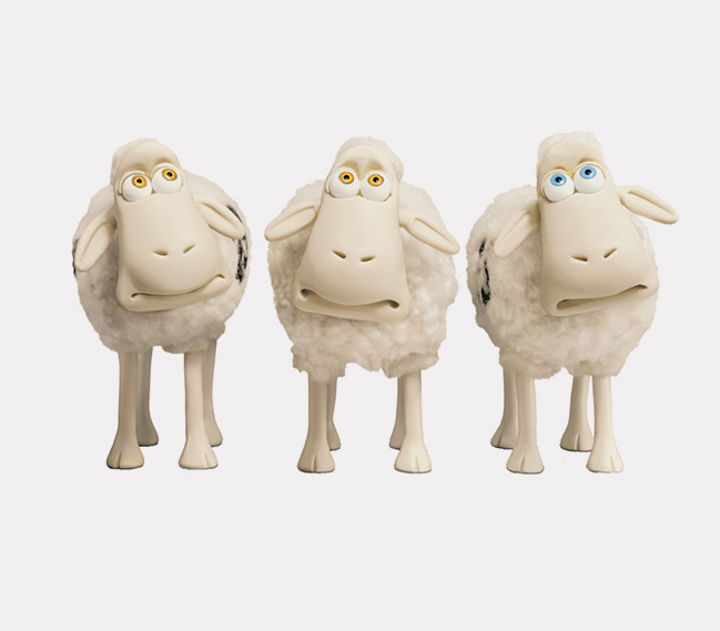 Three Serta sheep